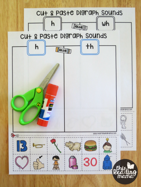 NO PREP Cut and Paste Digraph Sorts - This Reading Mama