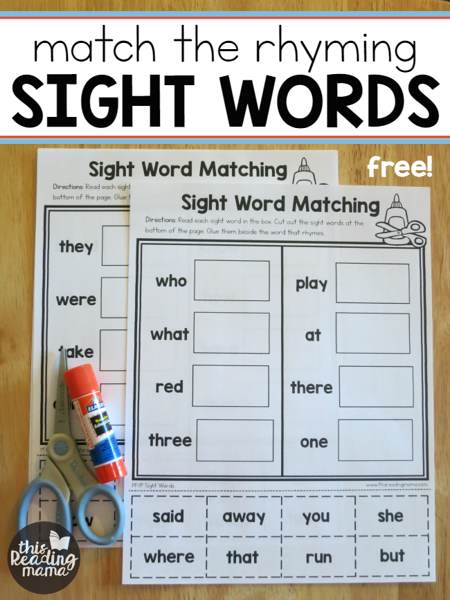 Sight Word Worksheets - Free Match the Rhyming Sight Words - This Reading Mama