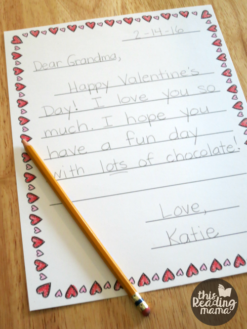 valentine letter writing templates for kids