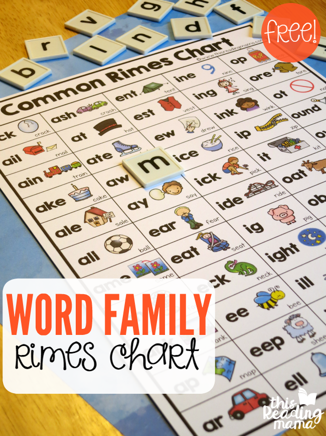 Word Family Rimes Chart {FREE} - This Reading Mama