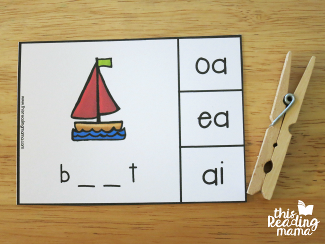 vowel team clip cards example - boat