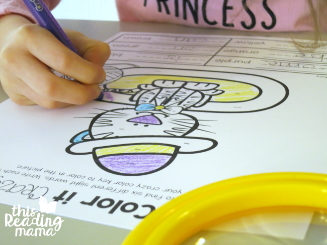 Color It Crazy Sight Word Coloring Page from Learn to Read