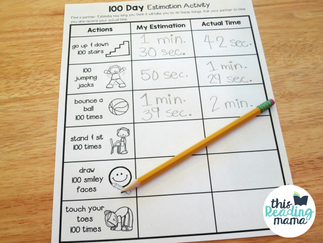FREE 100 Day Estimation Activity Page