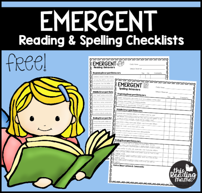 FREE Checklist for Emergent Readers and Spellers - This Reading Mama