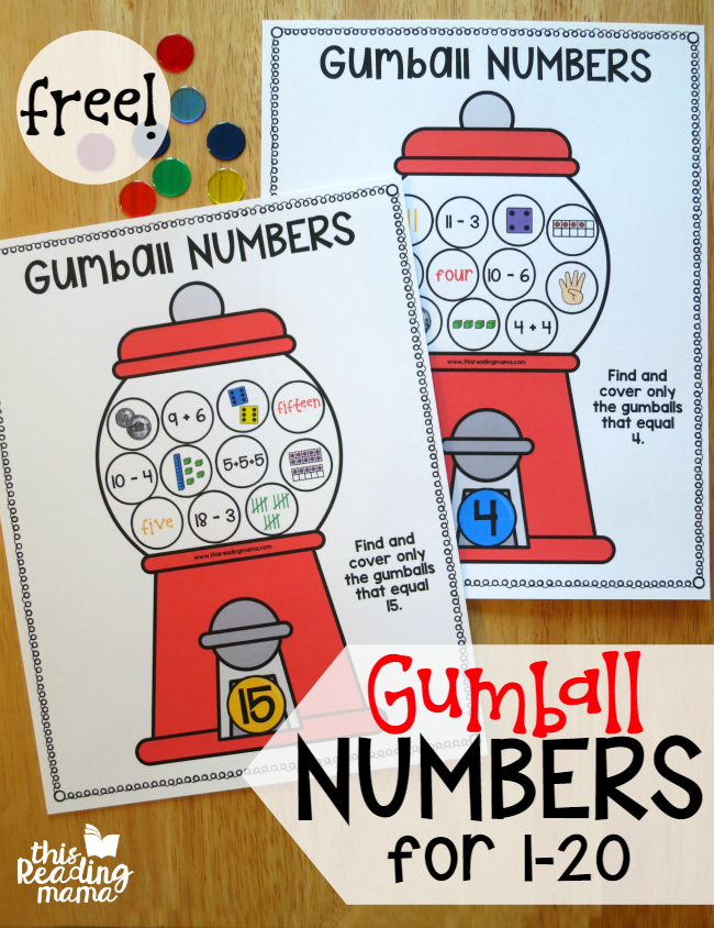 Gumball Math Mats for Numbers 1-20 - This Reading Mama