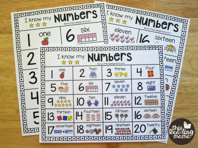 Printable Number Charts - all three variations