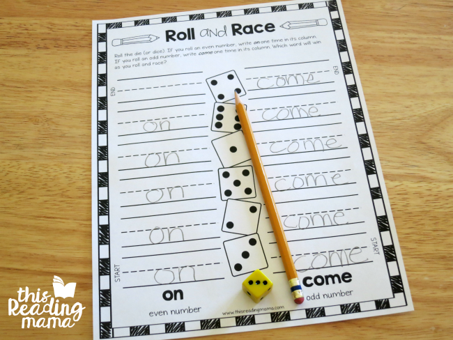 Roll and Race Sight Word Game with on and come