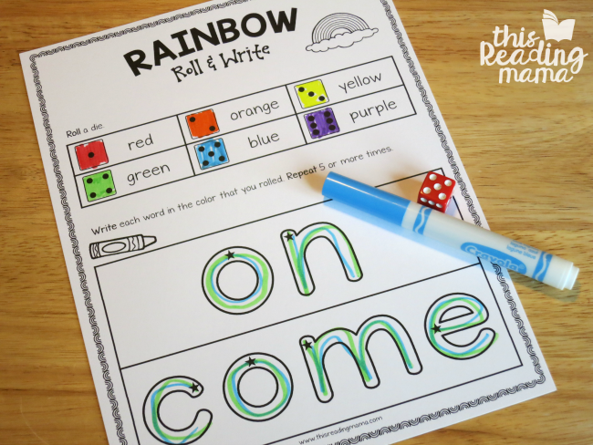 Sight Word Rainbow Roll and Write for on and come