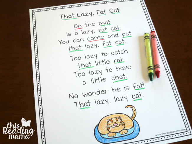 That Lazy Fat Cat Poem from Learn to Read