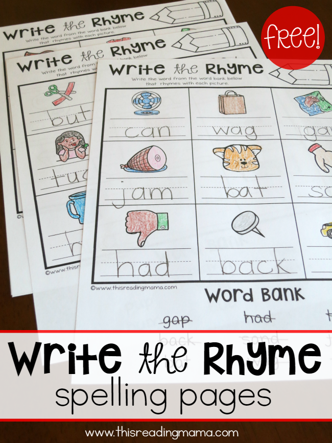 Write the Rhyme Spelling Pages for Short Vowels {FREE} - This Reading Mama