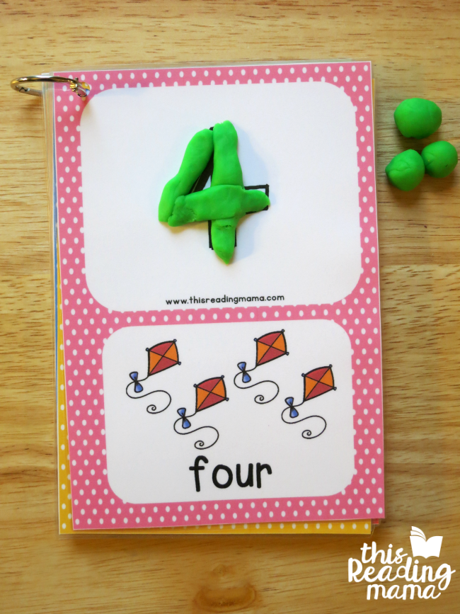 number cards as playdough mats