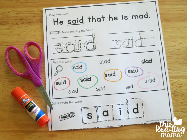sight word activity page example for said