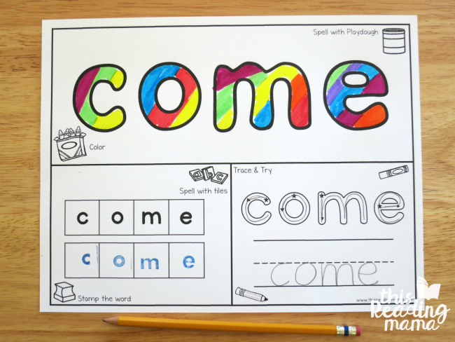 sight word playdough mat without plastic sleeve protector