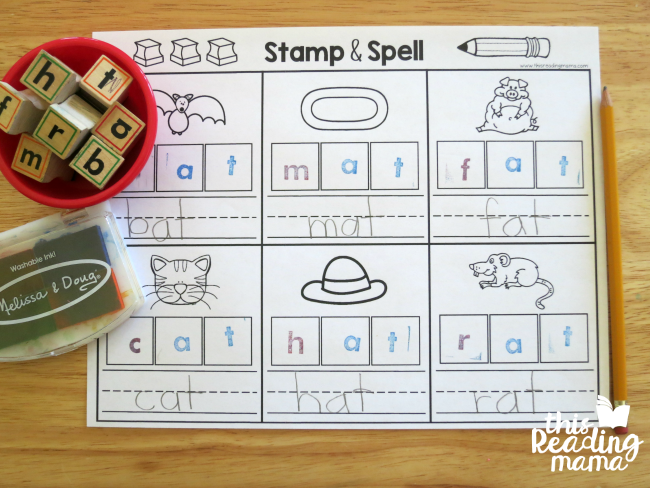 stamp and spell at word families from Learn to Read