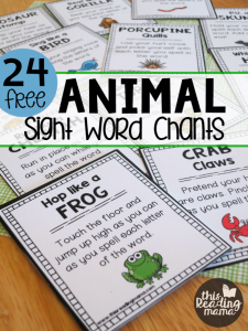 24 Animal Sight Word Chants