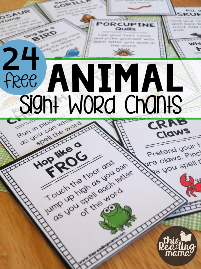 24 Animal Sight Word Chants