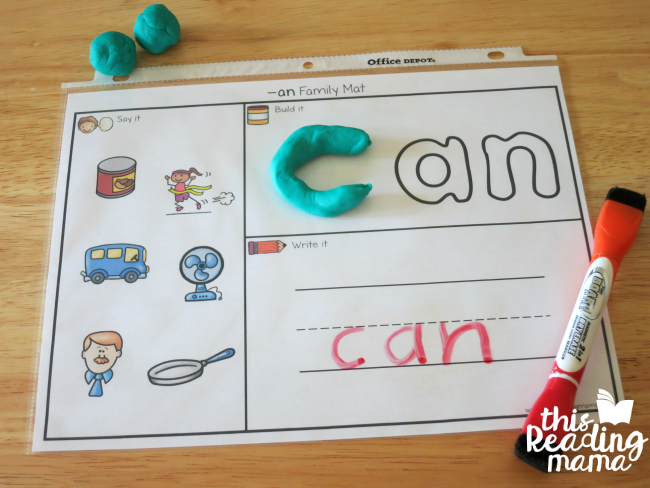 AN Word Family Playdough Mat