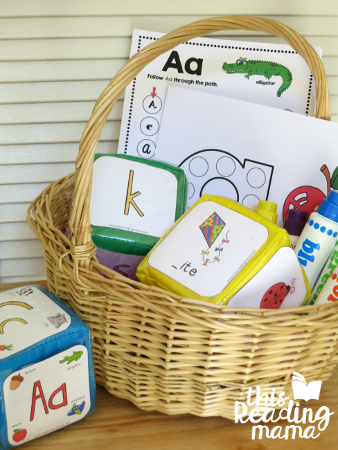 Alphabet Easter Basket with dot pages, dot paint and alphabet phonics cubes