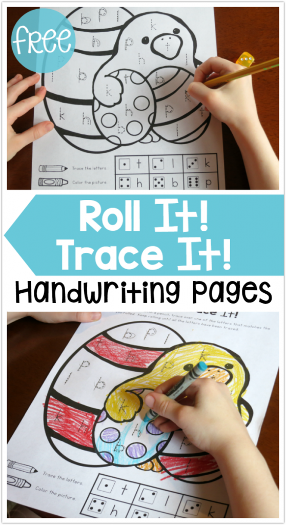 Easter Handwriting Pages - Roll It Trace It - FREE - This Reading Mama