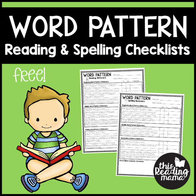 FREE Word Pattern Checklist for Readers and Spellers - This Reading Mama