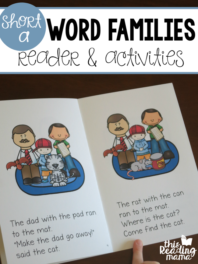 Short a Word Families Reader and Activities FREE - This Reading Mama