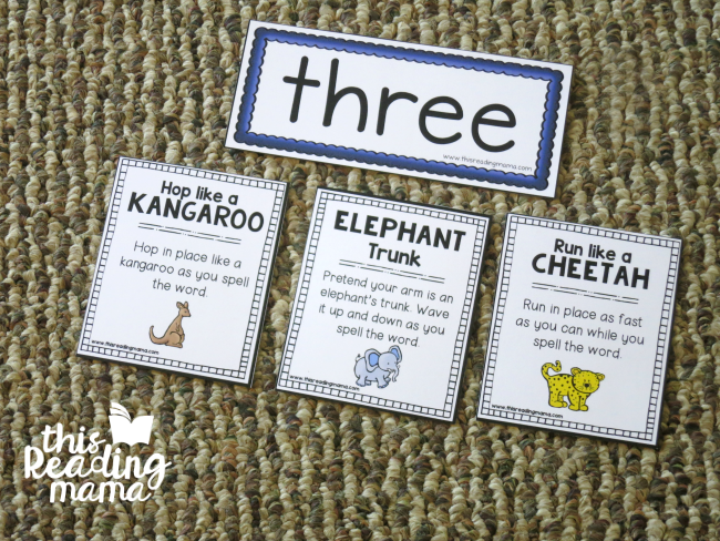 picking 3 animal sight word chants per word