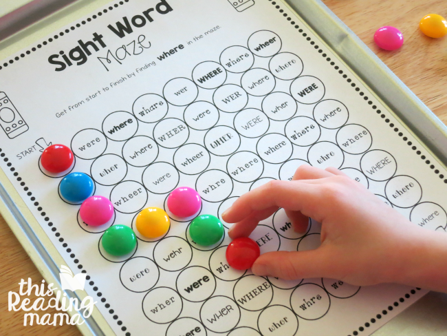 power magnets for sight word maze