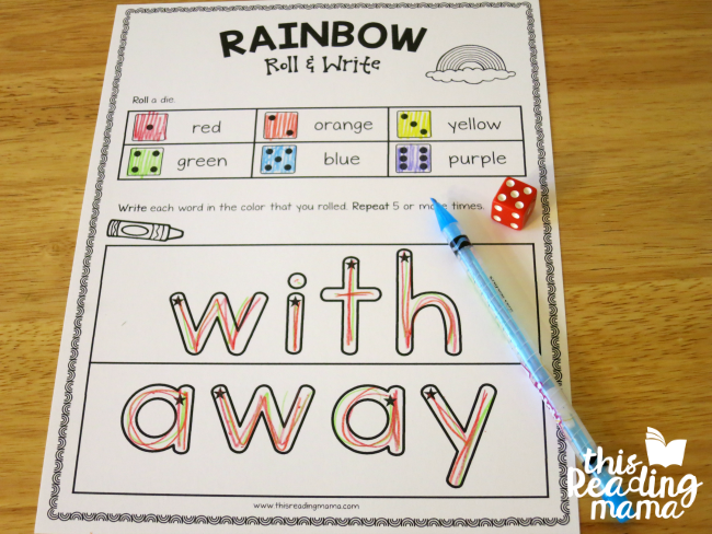 rainbow roll and write sight word page for with and away