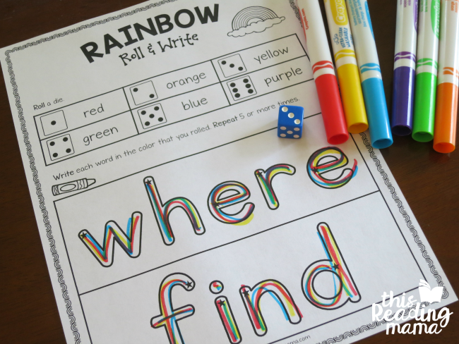 rainbow roll and write the sight words where & find