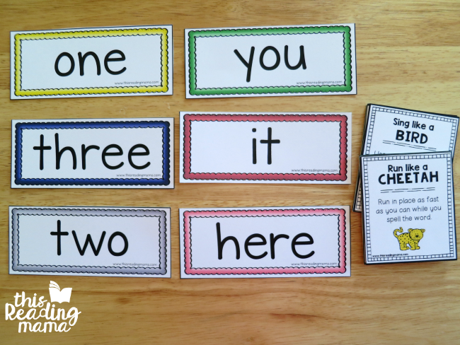 sight word cards and animal sight word chants