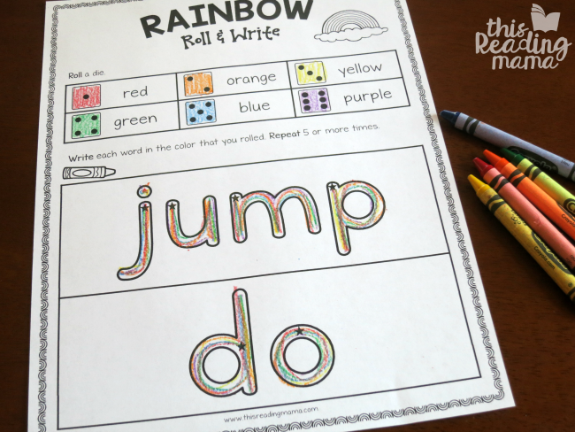 sight word rainbow roll and write from Learn to Read - lesson 5