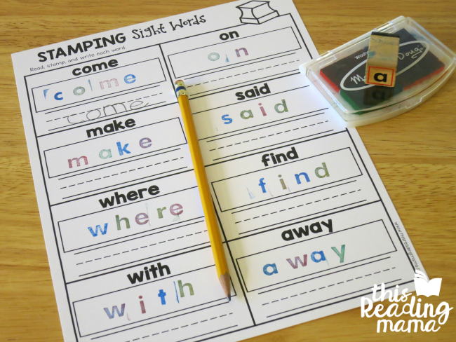 sight word stamp and spell page - lesson 4 of Learn to Read