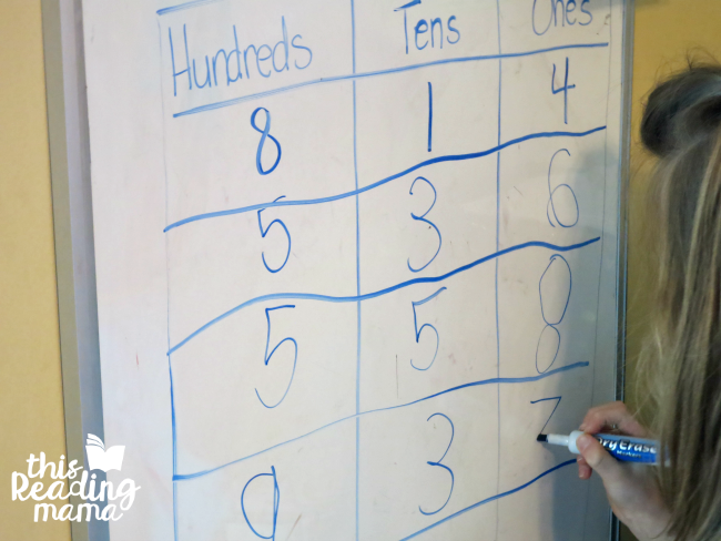 writing 3-digit numbers into chart