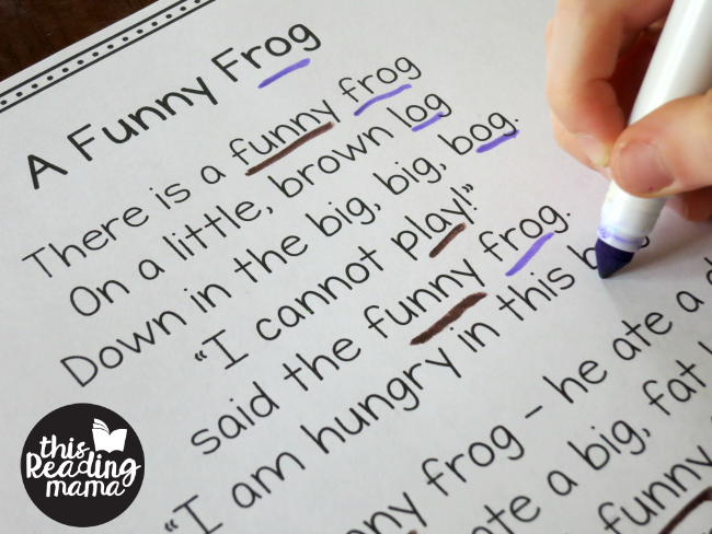 A Funny Frog OG Word Family Poem by This Reading Mama