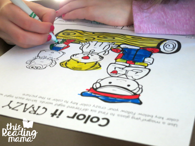 Color it Crazy - sight word coloring from Learn to Read