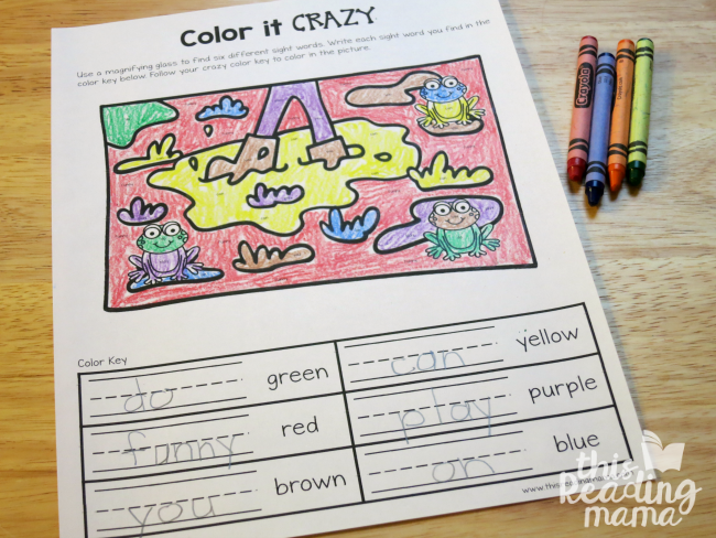 Color it Crazy - sight word coloring page from Learn to Read