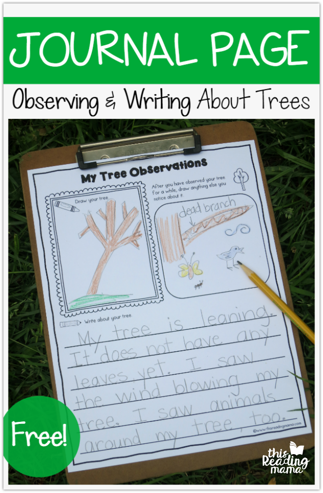 FREE Tree Journal Page - Observing and Writing About Trees - This Reading Mama