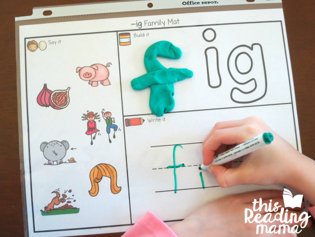 IG Word Family Playdough Mat - free from Learn to Read