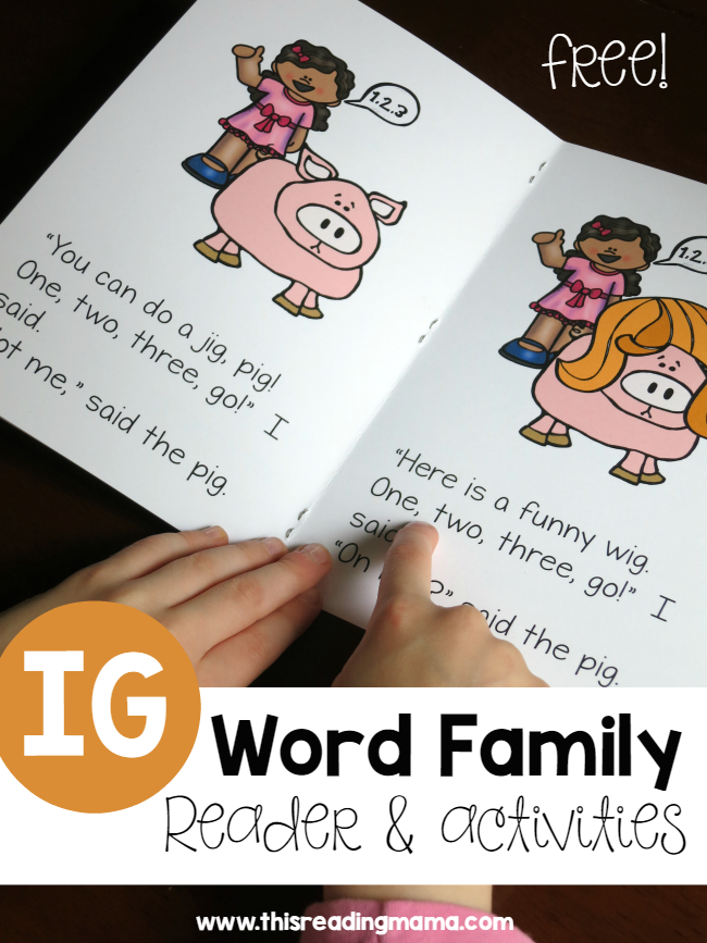 IG Word Family Reader and Activities from Learn to Read - This Reading Mama