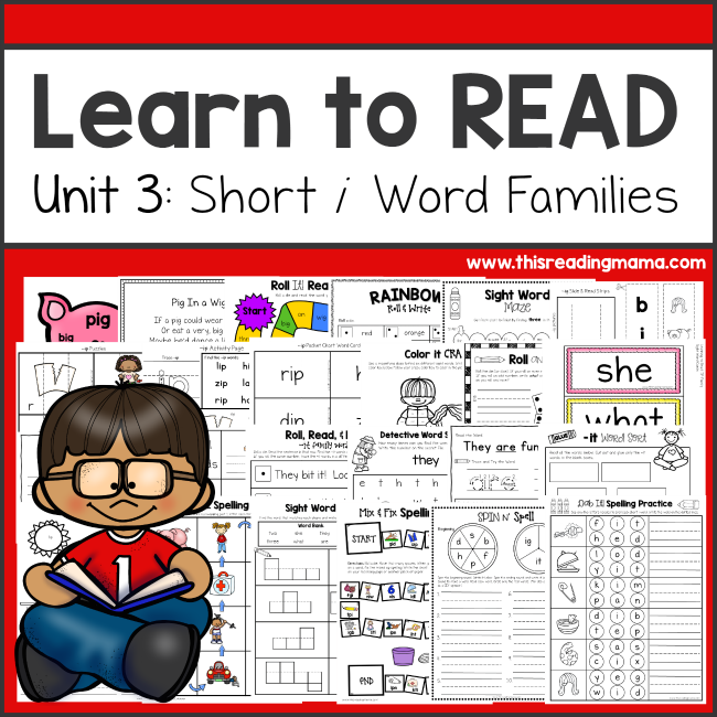 Learn to Read Unit 3 - Short i Word Families - This Reading Mama