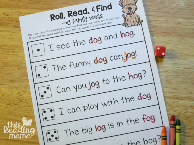 OG Word Family Roll-Read-Find Activity