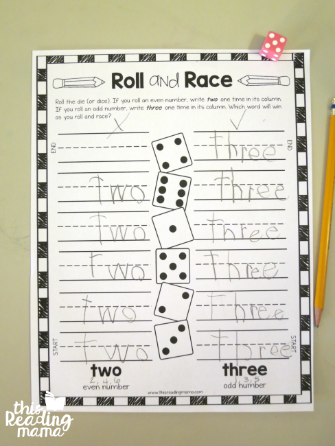 Roll and Race Sight Word Game from Lesson 9 of Learn to Read