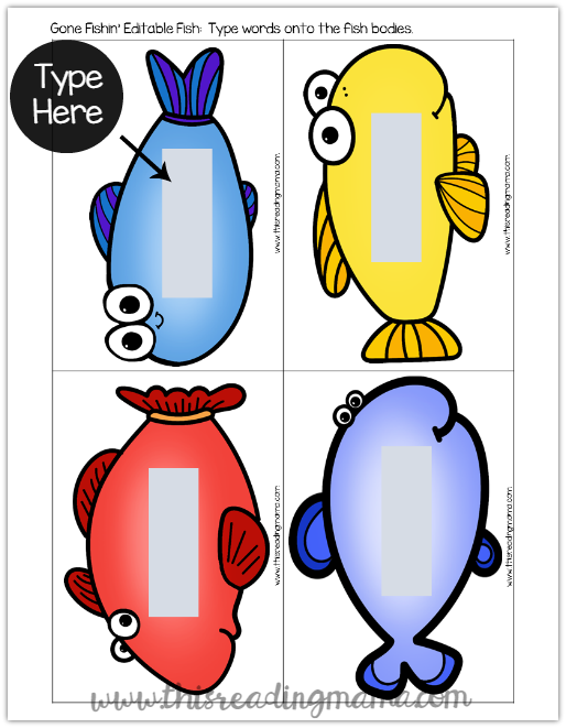Sight Word Fishing Game - Editable Fish Example