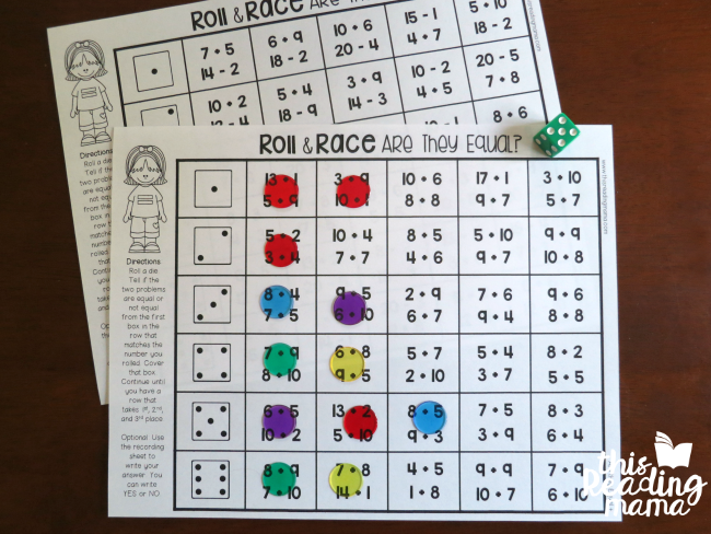 Addition And Subtraction Games Roll And Race This