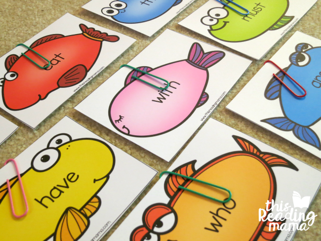 fish on the floor for sight word fishing game