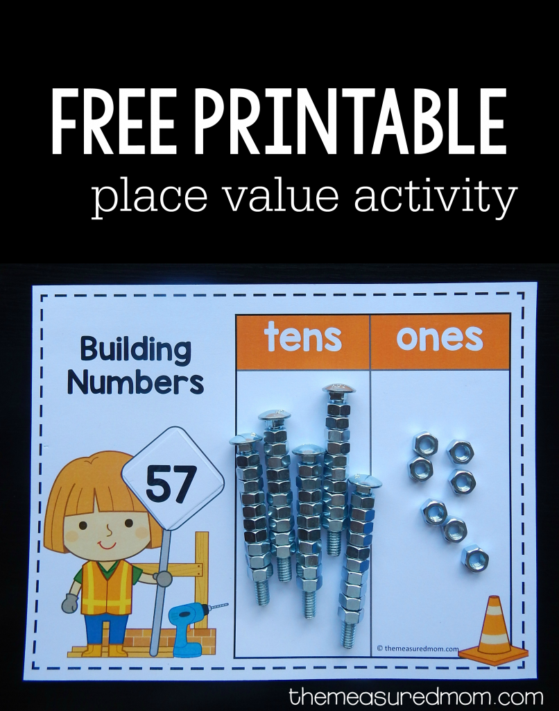 place value activity with nuts and bolts