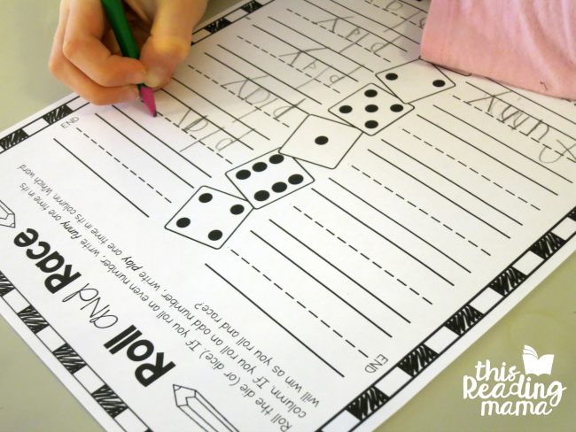 roll and race sight word writing -funny-play