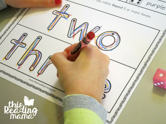 roll and rainbow write sight words - two and three