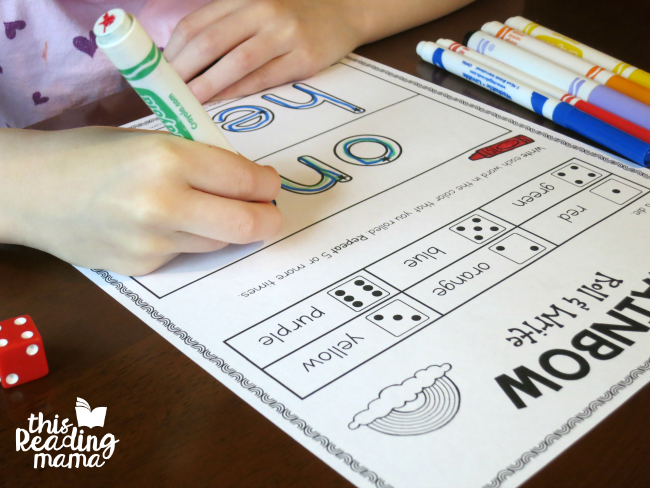 roll and write sight words - one and here from Learn to Read