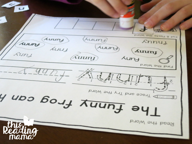 sight word activity page for funny